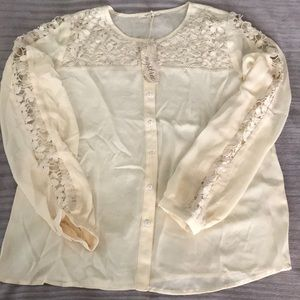 New Mystree Large L Anthropology cream Blouse Top